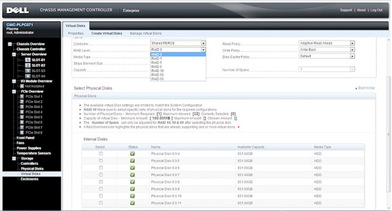 Dell PowerEdge VRTX Shared Storage Screenshot